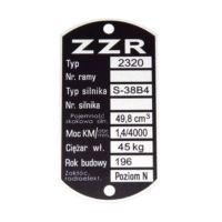 Tabliczka znamionowa KOMAR ZZR 2320