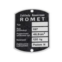 Tabliczka znamionowa ROMET - Z.R.