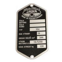 Tabliczka znamionowa Jawa 350 typ 354 czeska