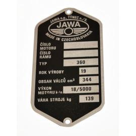 Tabliczka znamionowa Jawa 350 typ 360 czeska
