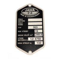 Tabliczka znamionowa Jawa 250 typ 353 czeska